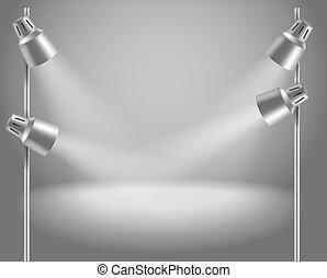 etapa, brillante, proyectores, photorealistic