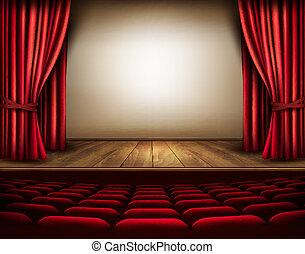 etapa, seats., teatro, vector., cortina, rojo