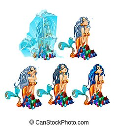 etapas, de, envejecimiento, bellezas, mermaids., hermoso, mítico, mujer, aislado, blanco, fondo., vector, caricatura, primer plano, illustration.