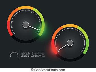 etapas, vector, calibrador, velocímetro