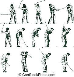 etapas, vector, golf, ilustración, columpio