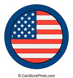 etats, bouton, uni, drapeau, isolé