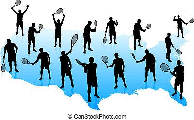 etats, carte, équipe, uni, tennis