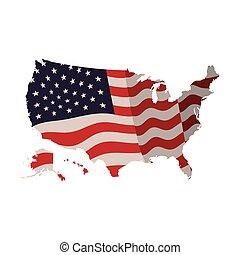 etats, carte, drapeau, uni, icône