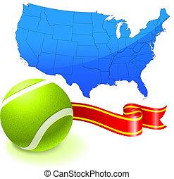 etats, carte, uni, balle, tennis