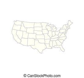 etats, carte, uni, régions