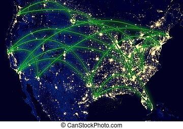 etats, carte, uni, réseau