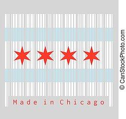 etats, chicago, ensemble, couleur ville, uni, drapeau, barcode, populous, america., la plupart, illinois