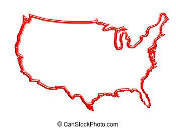 etats, cire, uni, frontière, rouges