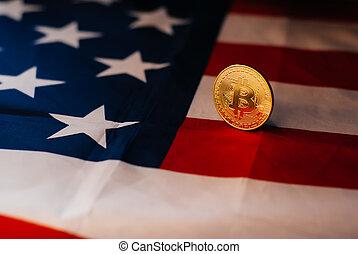 etats, drapeau, uni, bitcoin, or