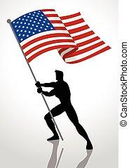 etats, drapeau, uni, porteur, amérique