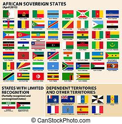 etats, drapeaux, africaine