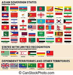 etats, drapeaux, asiatique