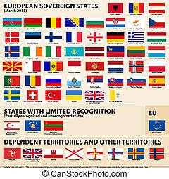 etats, drapeaux, europena