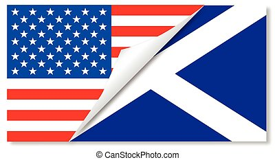 etats, drapeaux, uni, ecosse, combiné
