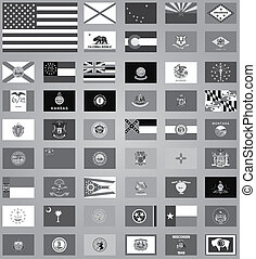 etats, drapeaux, uni, grayscale, illustration