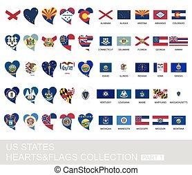 etats, ensemble, nous, 1, partie, drapeaux, cœurs