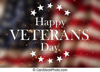 etats, flag., vétérans, uni, jour, concept