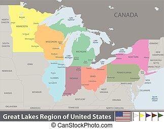 etats, grand, uni, région, lacs