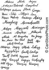 etats, hand-lettering, nom, usa