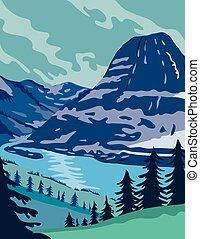 etats, lac, uni, kintla, wpa, affiche, parc glacier, couleur...
