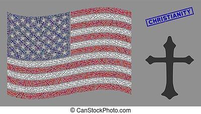 etats, mosaïque, timbre, grunge, christianisme, chrétien, uni, drapeau, croix