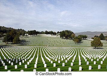 etats, national, uni, cimetière