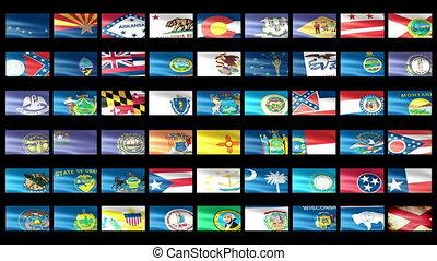 etats, onduler, drapeau américain