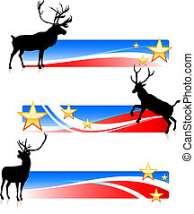 etats, patriotique, bannières, uni, cerf