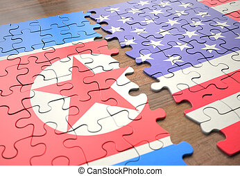 etats, puzzle, corée, nord, uni