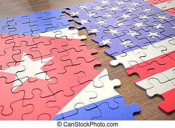 etats, puzzle, uni, cuba