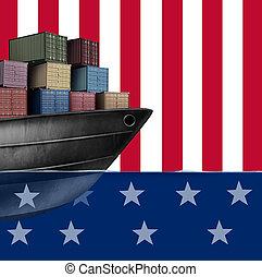 etats, uni, économique, commercer