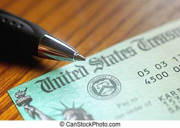 etats, uni, chèque, trésorerie