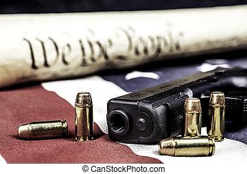 etats, uni, constitution, fusil, droits