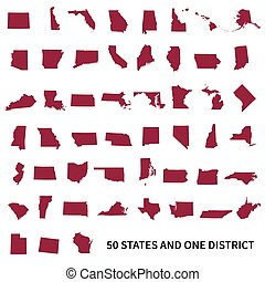 etats, uni, fédéral, 50, o, district., 1, ensemble, amérique