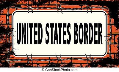 etats, uni, frontière, signe