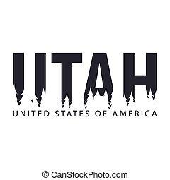 etats, uni, silhouette, usa., texte, étiquettes, forest., america., utah., ou
