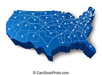 etats-unis, 3d, carte, communication, réseau
