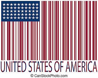 etats unis, codes barres, drapeau