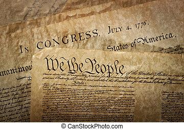 etats-unis, gros plan, constitution