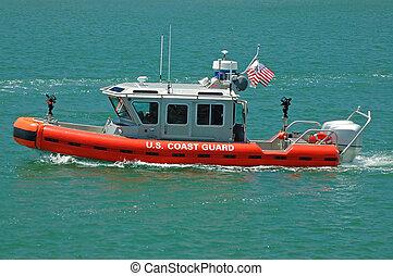 etats-unis, patrouille, garde, bateau, côte