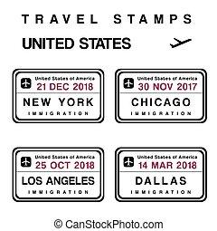 etats unis, timbres, passeport