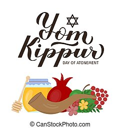 etcétera, fácil, letras, día, tarjeta, kippur, caligrafía, ...