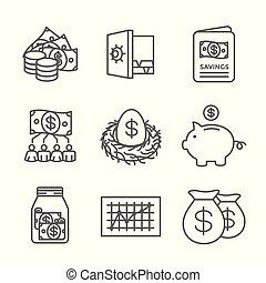 etc, ahorros, fondo, cuenta, icono, ira, w, roth, retiro, conjunto, mutuo