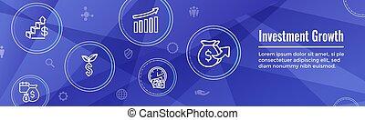 etc, -, dólar, símbolos, inversiones, conjunto, banca, crecimiento, icono