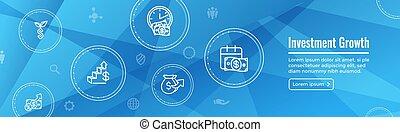 etc, icono, dólar, símbolos, inversiones, banca, -, crecimiento, conjunto