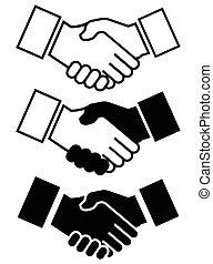 etc, poignée main, business, icône, friendship...