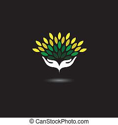 etc, representa, concepto, protección, balneario, naturaleza, ecología, niñas, hojas, eco, -, ilustración, ambiente, también, gráfico, verde, vector., manos, conservación, amistoso, icono