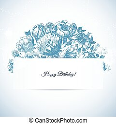 Etching floral garden greeting card, hand drawn bouquet vintage style