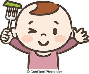 eten, baby, illustratie